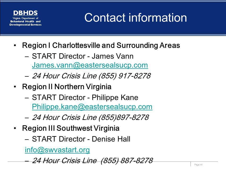 Contact information Region I Charlottesville and Surrounding Areas. START Director - James Vann James.vann@eastersealsucp.com.