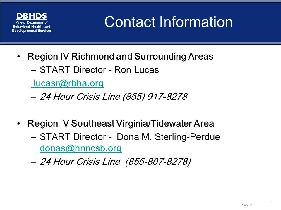 Contact Information Region IV Richmond and Surrounding Areas. START Director - Ron Lucas. lucasr@rbha.org.
