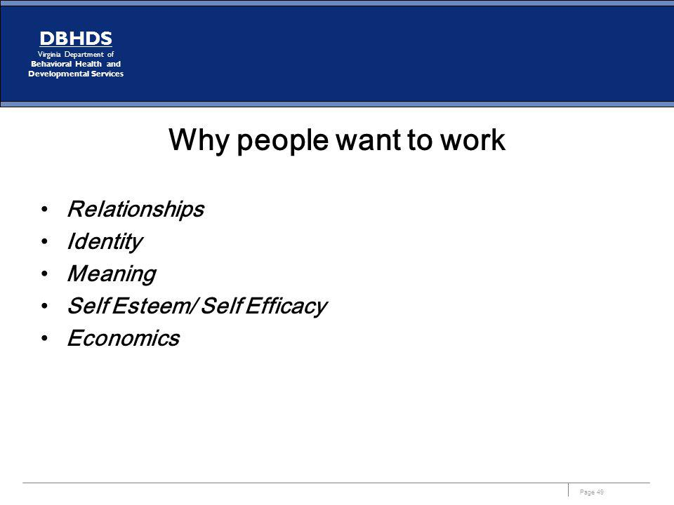 Why people want to work Relationships Identity Meaning