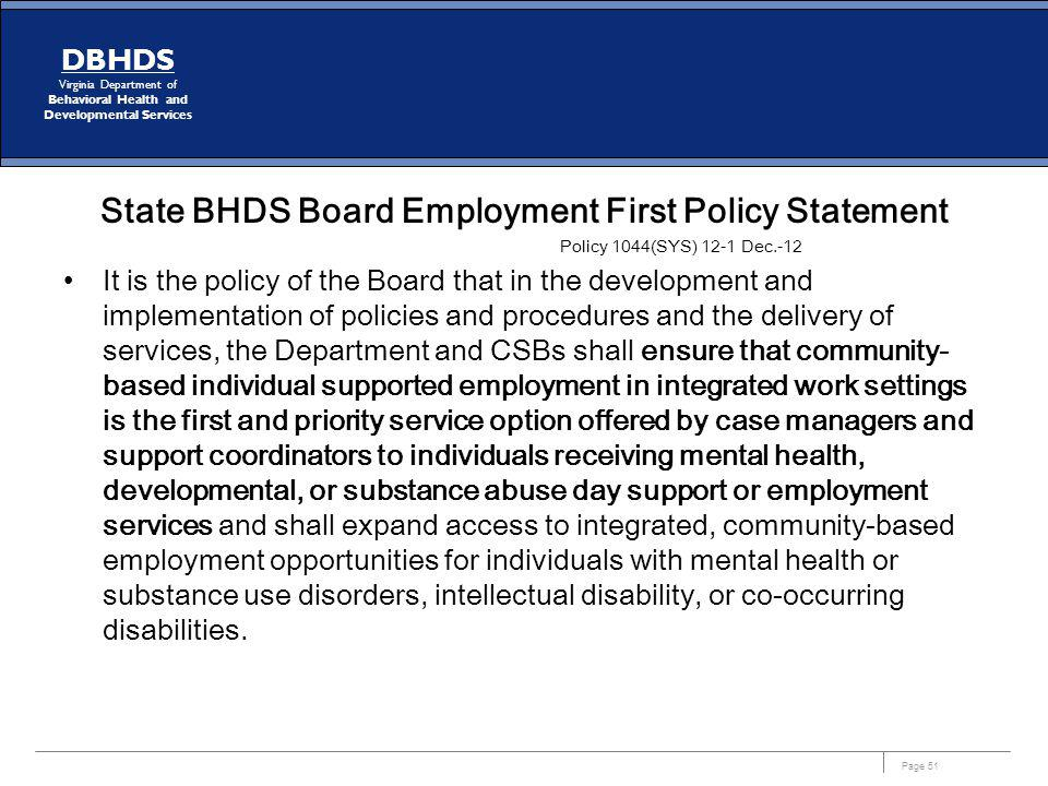 State BHDS Board Employment First Policy Statement