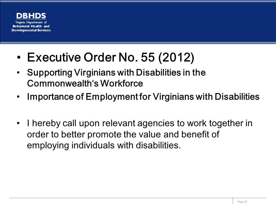 Executive Order No. 55 (2012) Supporting Virginians with Disabilities in the Commonwealth's Workforce.