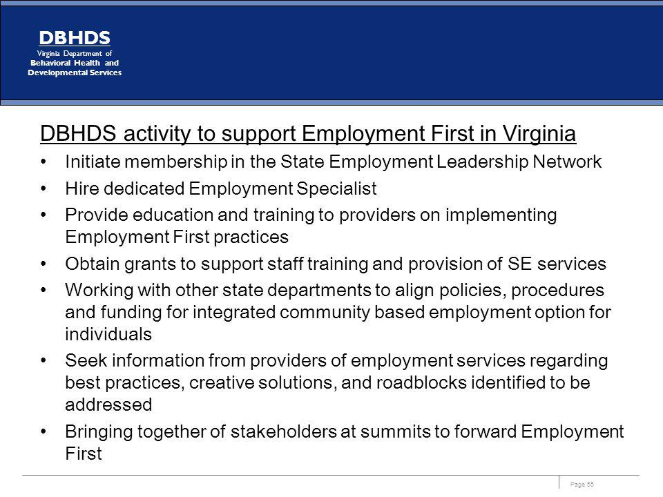 DBHDS activity to support Employment First in Virginia