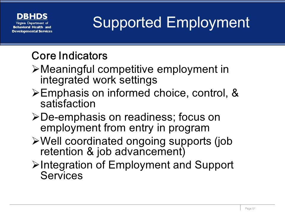 Supported Employment Core Indicators