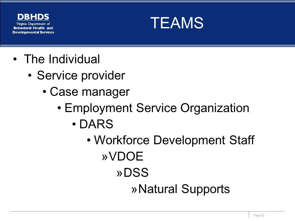 TEAMS The Individual Service provider Case manager