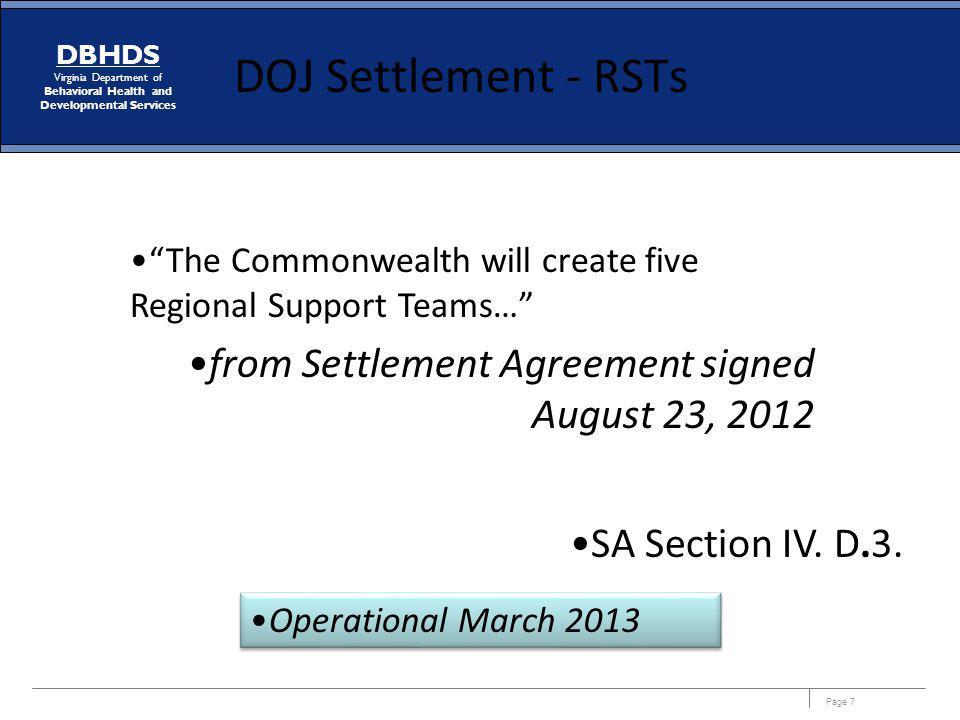 DOJ Settlement - RSTs from Settlement Agreement signed August 23, 2012