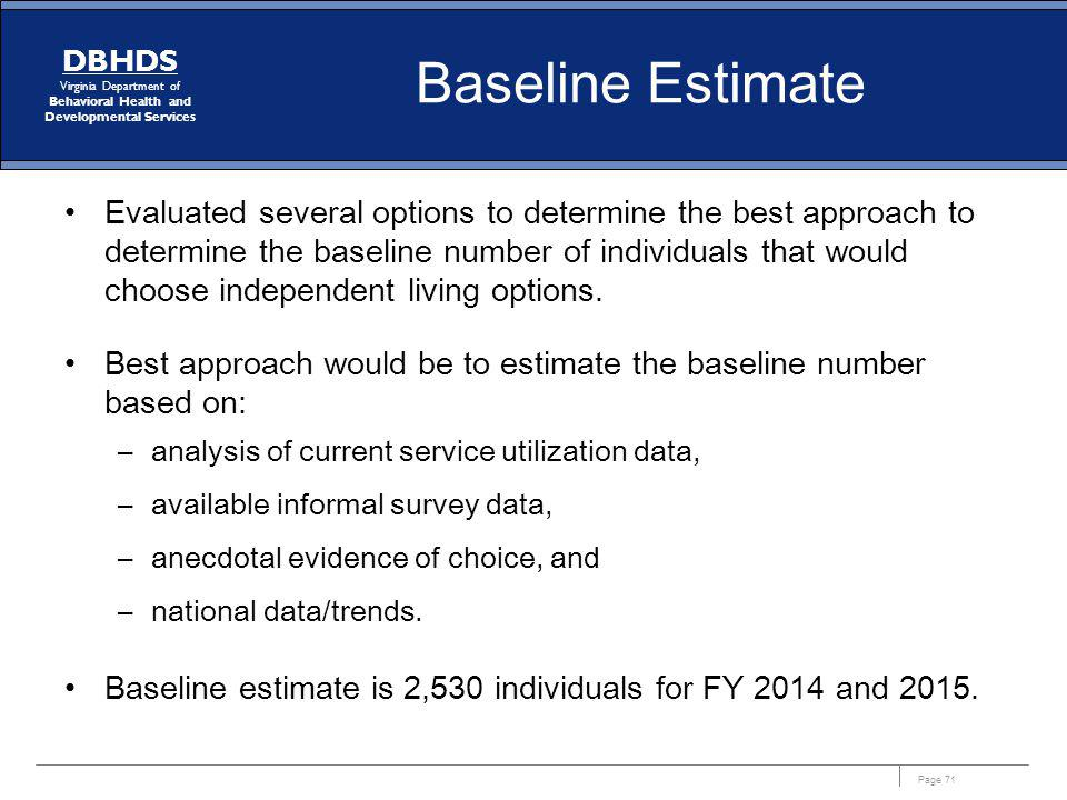Baseline Estimate