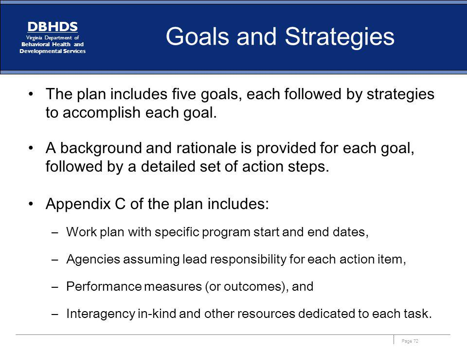 Goals and Strategies The plan includes five goals, each followed by strategies to accomplish each goal.