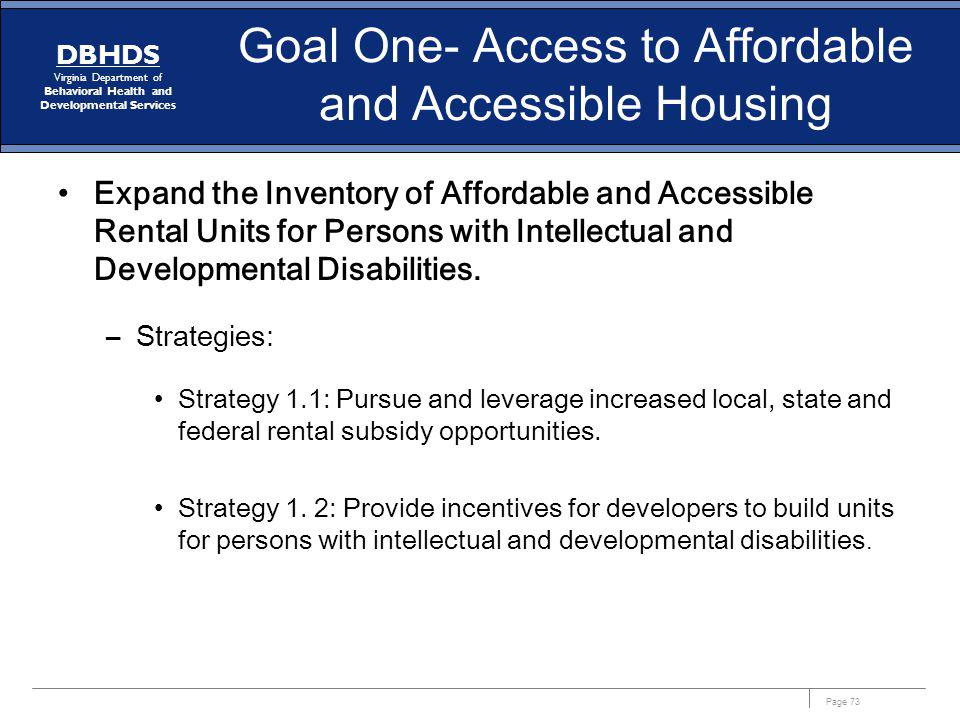 Goal One- Access to Affordable and Accessible Housing