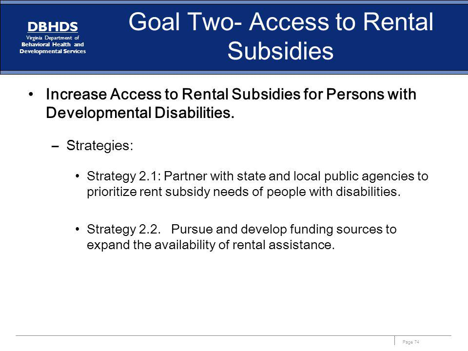 Goal Two- Access to Rental Subsidies