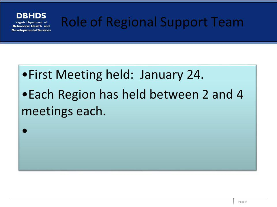 Role of Regional Support Team
