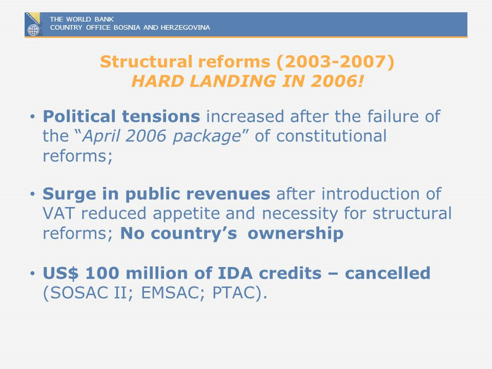 Structural reforms (2003-2007) HARD LANDING IN 2006!