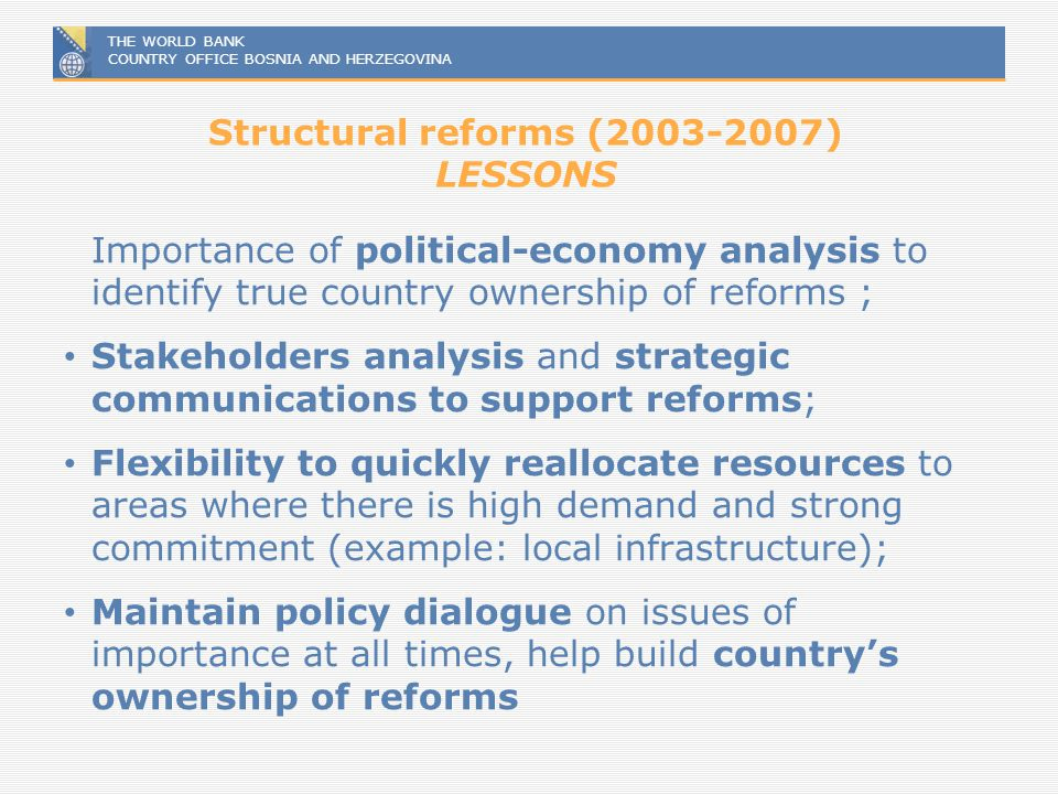 Structural reforms (2003-2007) LESSONS