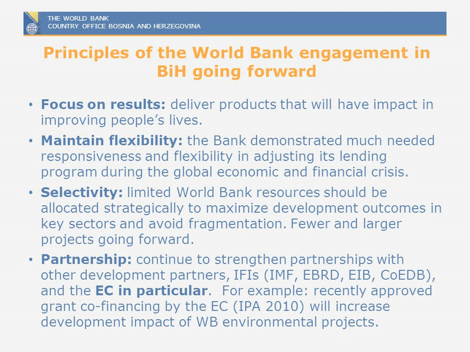 Principles of the World Bank engagement in BiH going forward