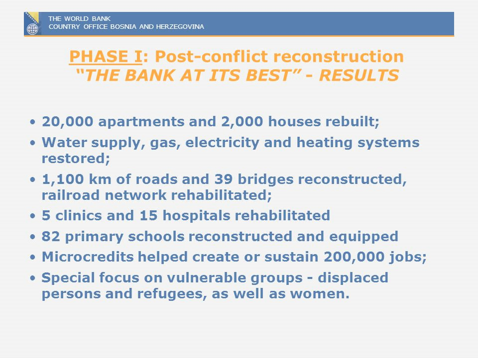PHASE I: Post-conflict reconstruction THE BANK AT ITS BEST - RESULTS