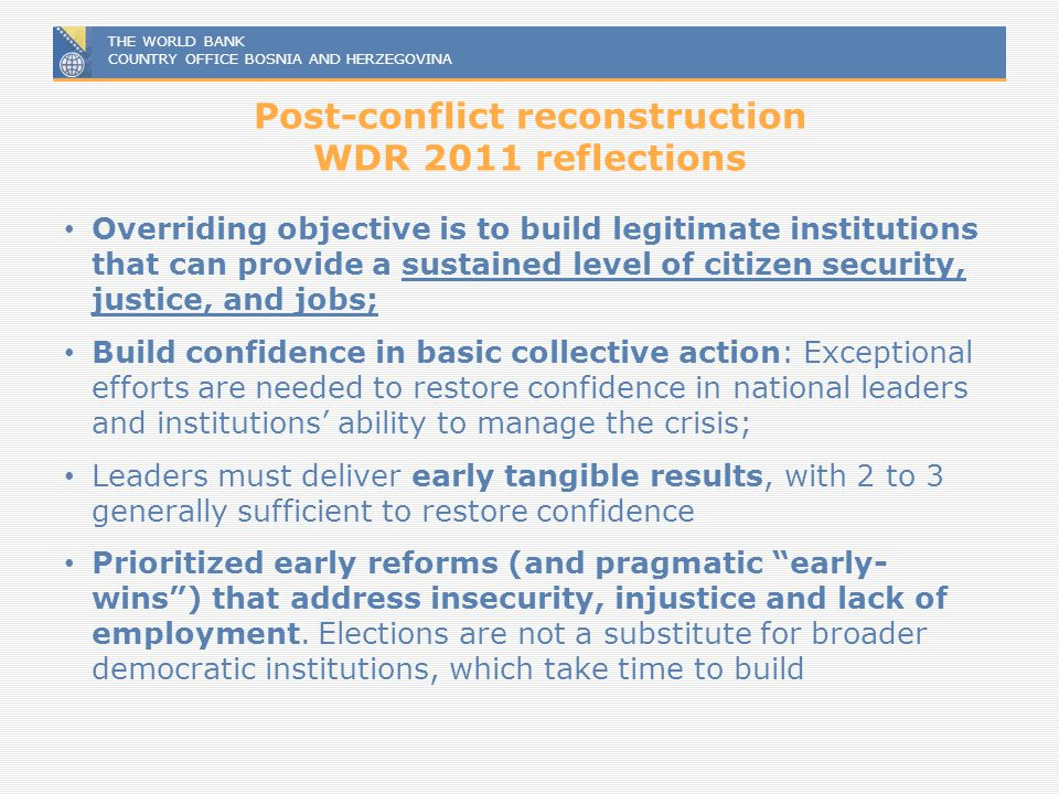 Post-conflict reconstruction WDR 2011 reflections