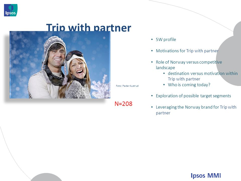 Trip with partner N=208 5W profile Motivations for Trip with partner