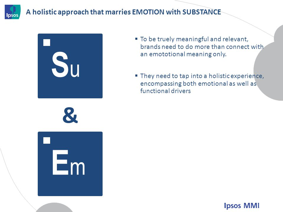 A holistic approach that marries EMOTION with SUBSTANCE