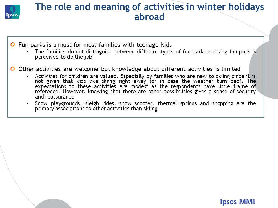The role and meaning of activities in winter holidays abroad