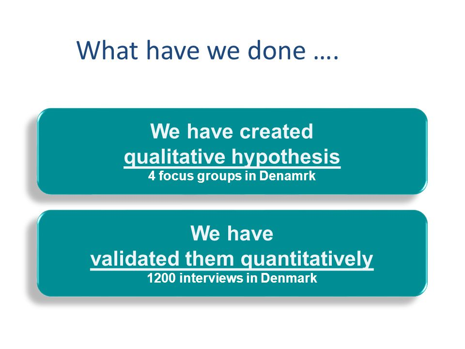 What have we done …. We have created qualitative hypothesis We have