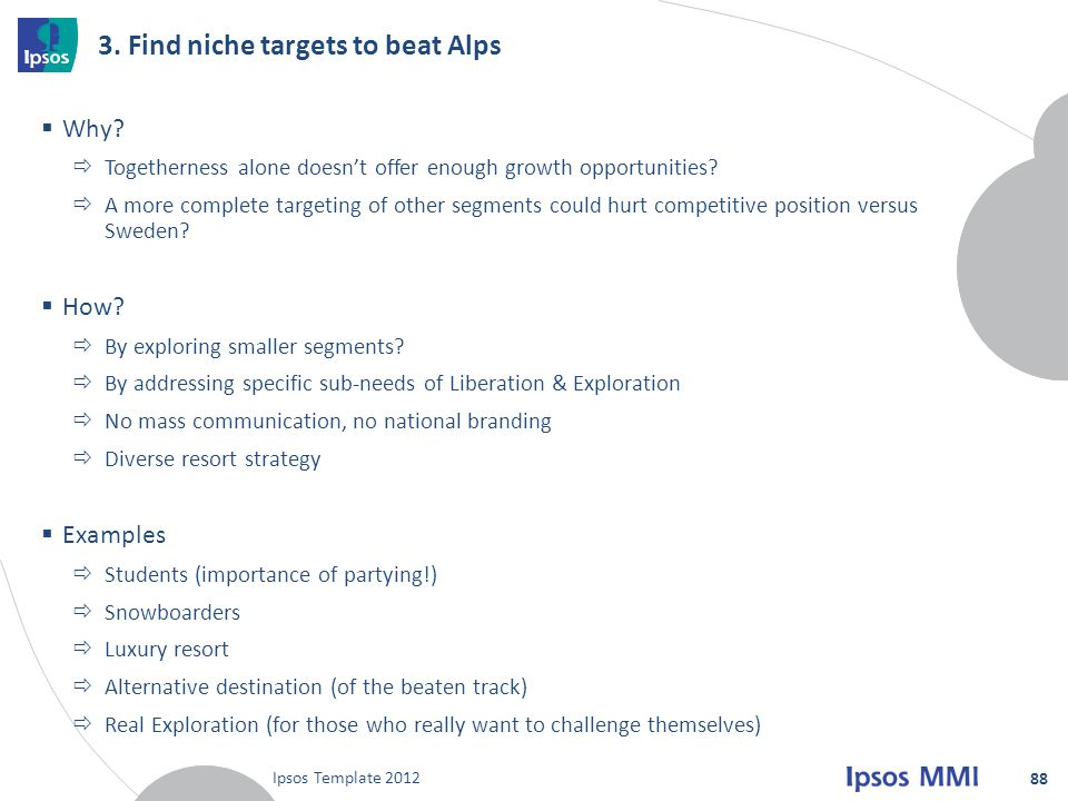 3. Find niche targets to beat Alps
