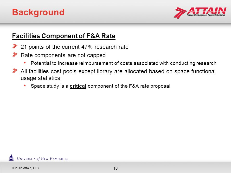 Background Facilities Component of F&A Rate