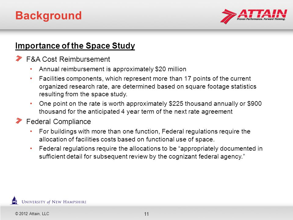 Background Importance of the Space Study F&A Cost Reimbursement