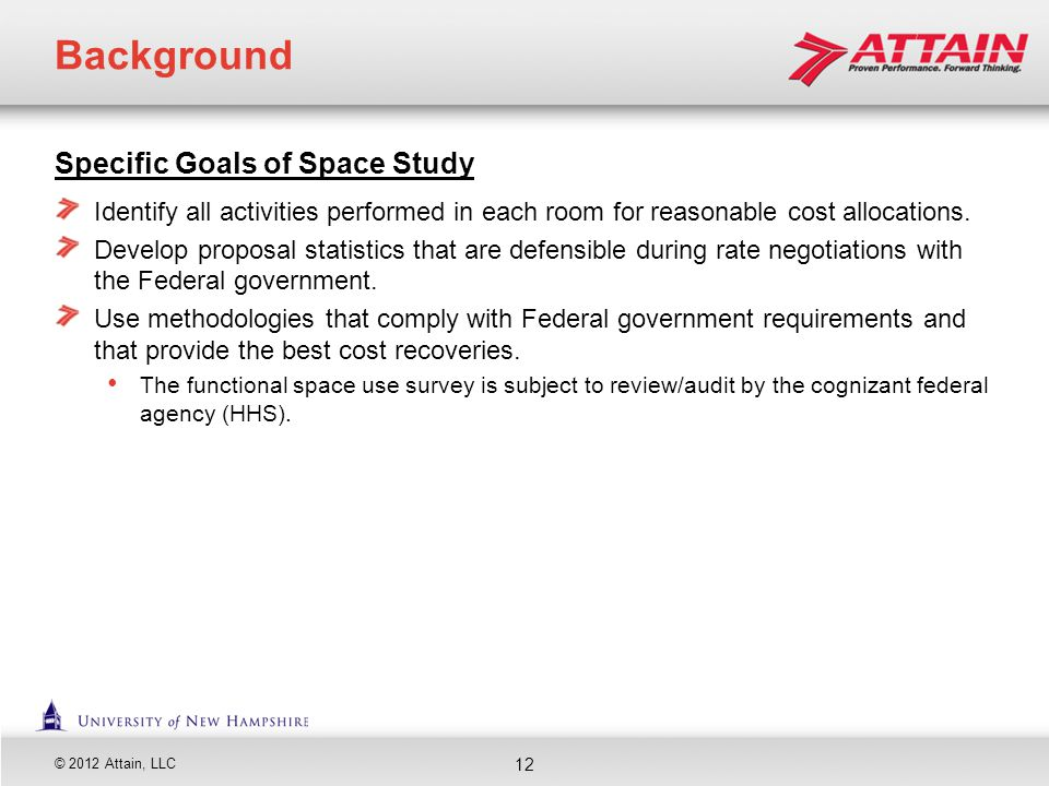 Background Specific Goals of Space Study