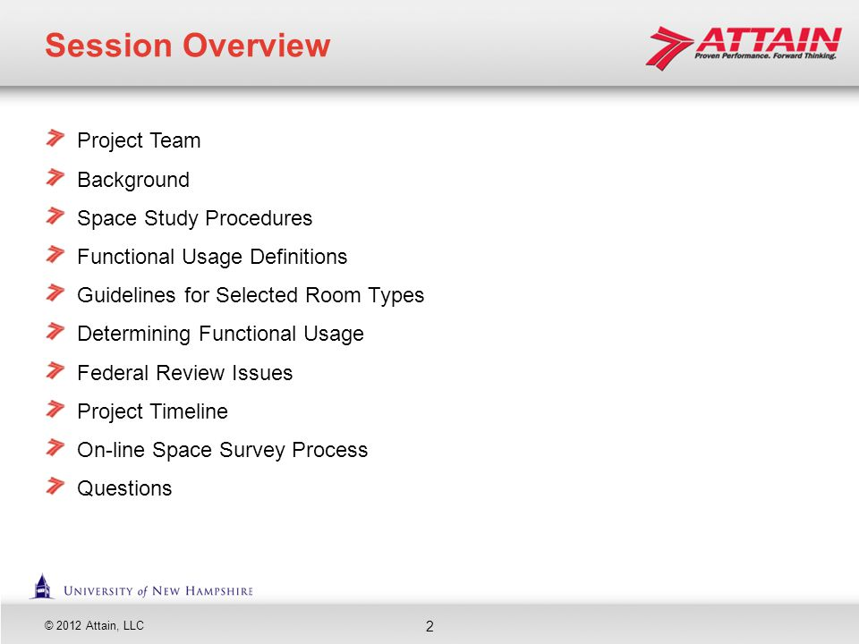 Session Overview Project Team Background Space Study Procedures