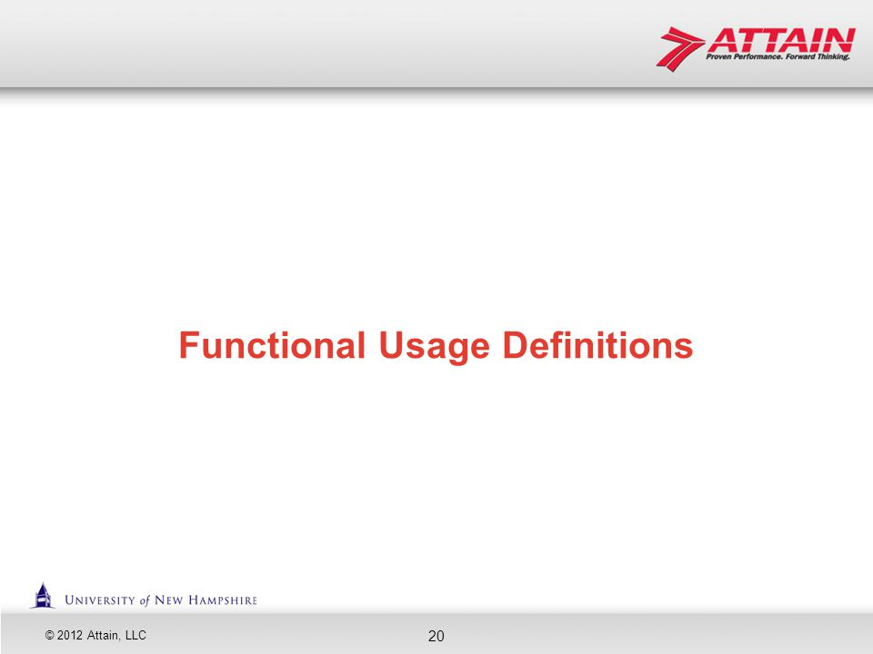 Functional Usage Definitions
