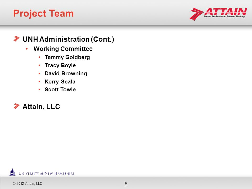 Project Team UNH Administration (Cont.) Attain, LLC Working Committee