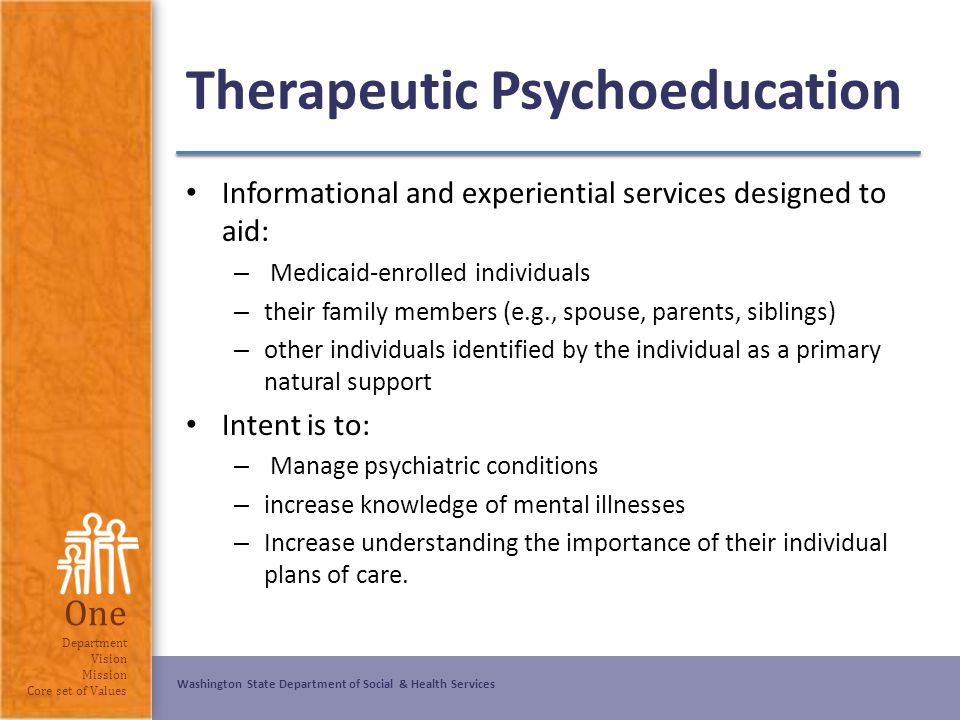 psychoeducation: psychiatry and family members essay Family involvement in psychoeducation can also improve compliance and ensure that a person experiencing mental health concerns is given adequate support while they receive treatment.