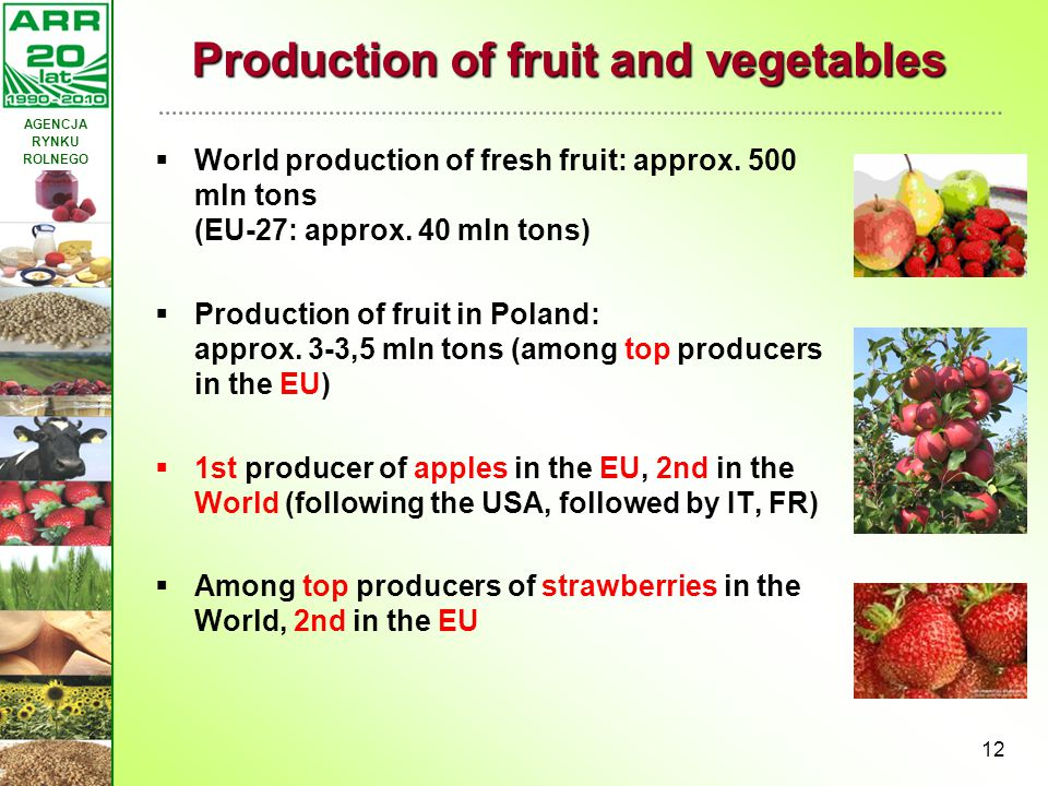 Production of fruit and vegetables