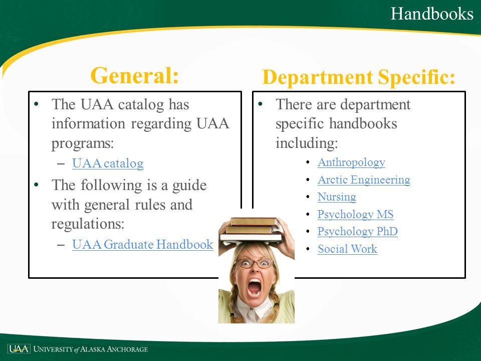 General: Department Specific: Handbooks