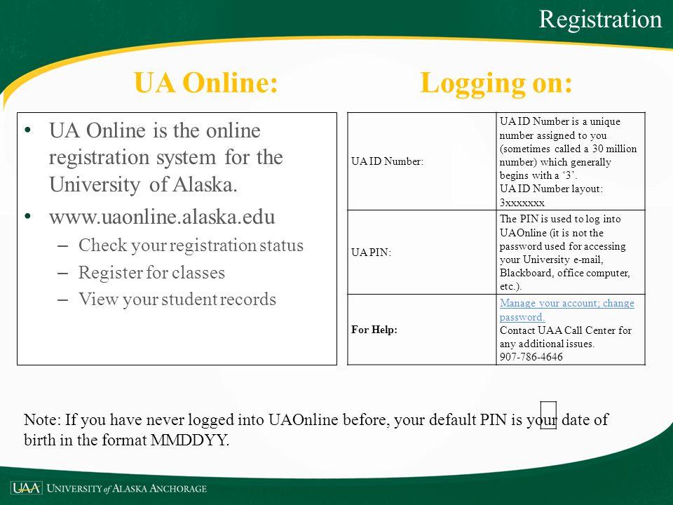 UA Online: Logging on: Registration