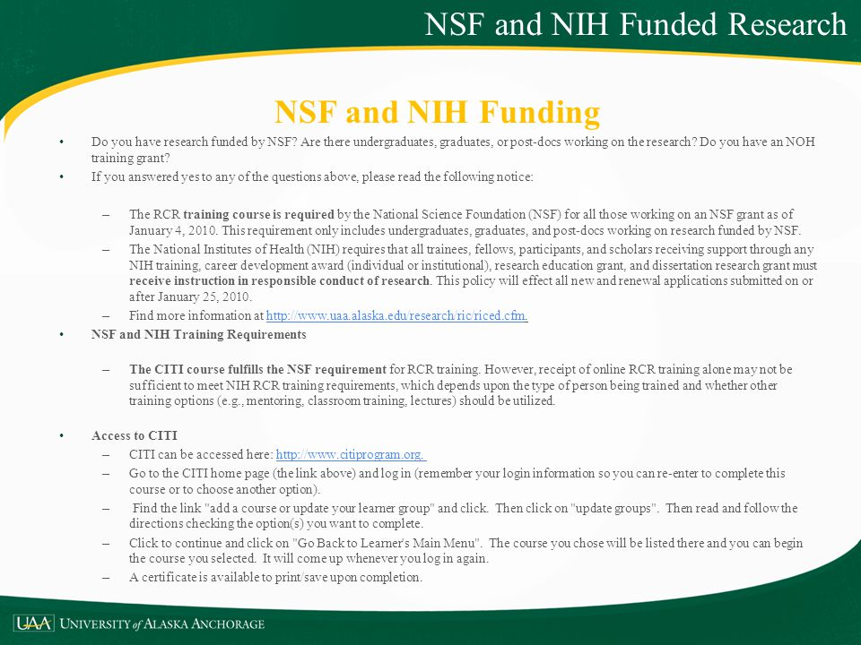NSF and NIH Funded Research