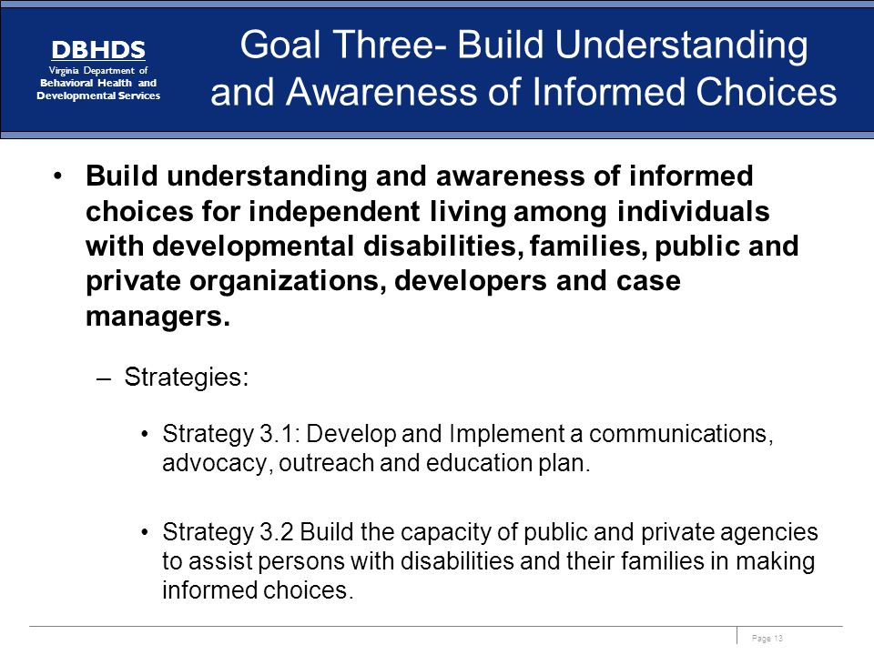 Goal Three- Build Understanding and Awareness of Informed Choices
