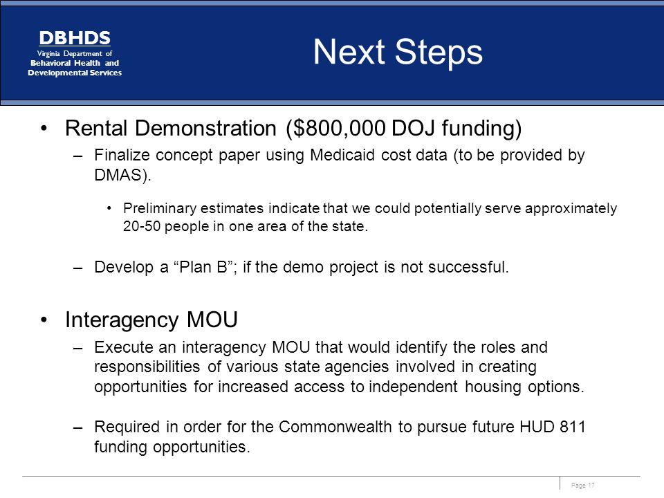 Next Steps Rental Demonstration ($800,000 DOJ funding) Interagency MOU