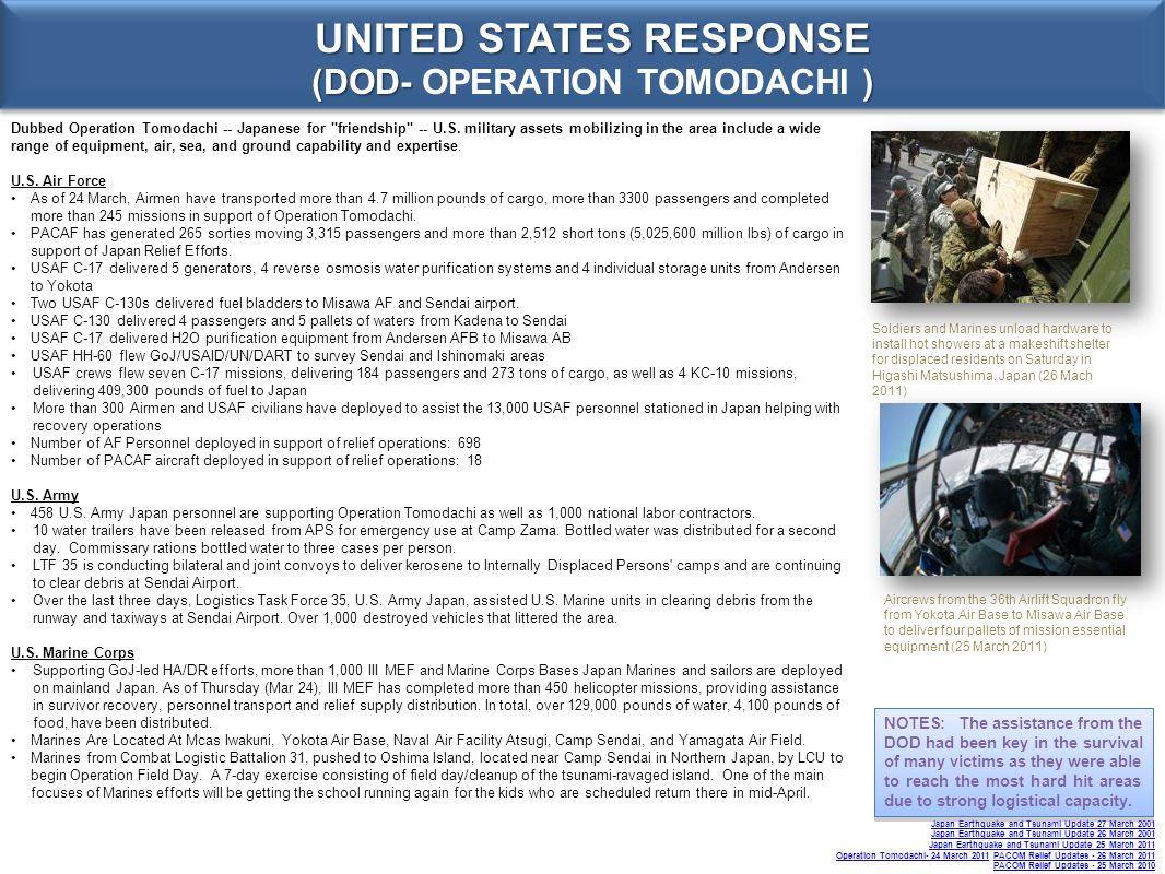 UNITED STATES RESPONSE (DOD- OPERATION TOMODACHI )