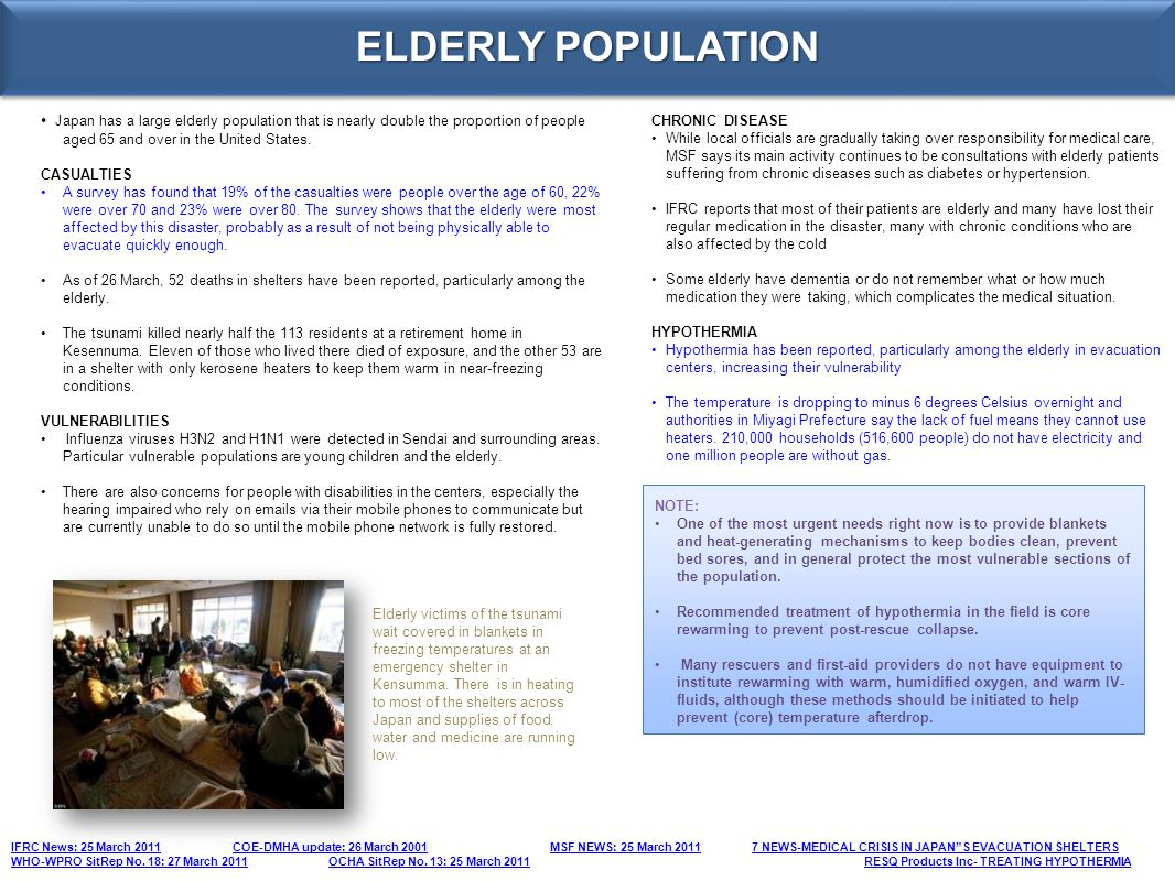 ELDERLY POPULATION • Japan has a large elderly population that is nearly double the proportion of people aged 65 and over in the United States.