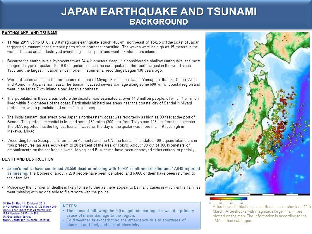 JAPAN EARTHQUAKE AND TSUNAMI BACKGROUND