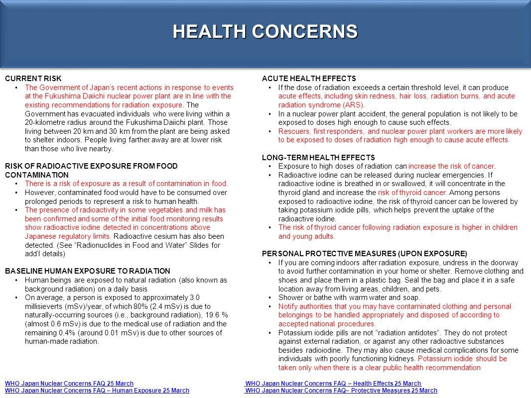 HEALTH CONCERNS CURRENT RISK