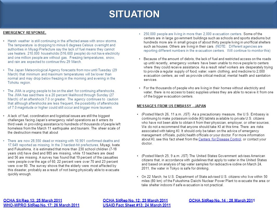 SITUATION EMERGENCY RESPONSE,
