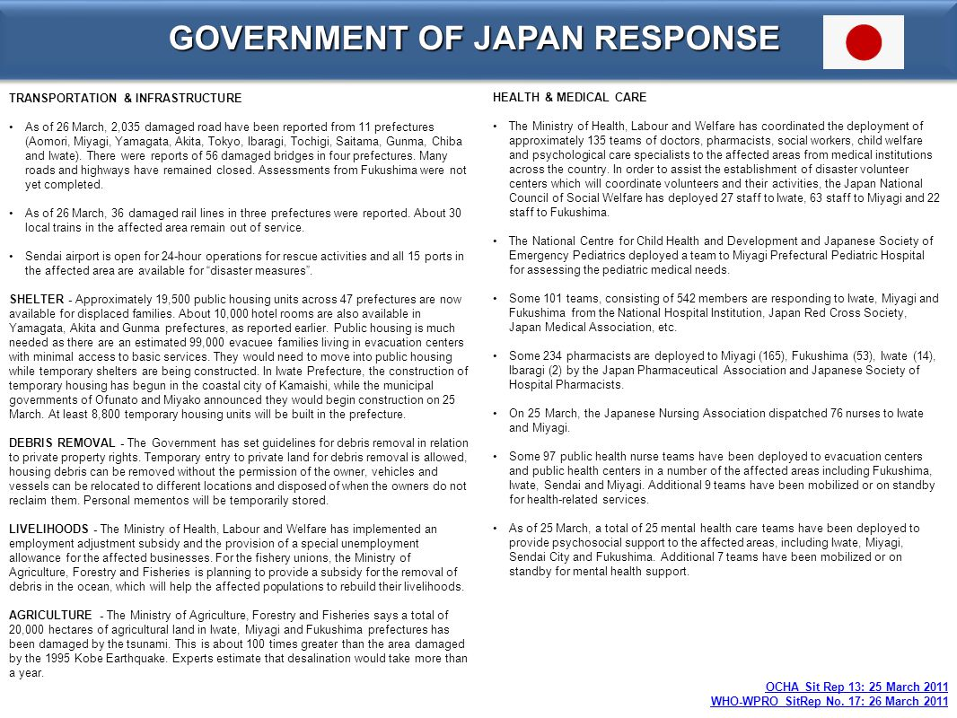 GOVERNMENT OF JAPAN RESPONSE