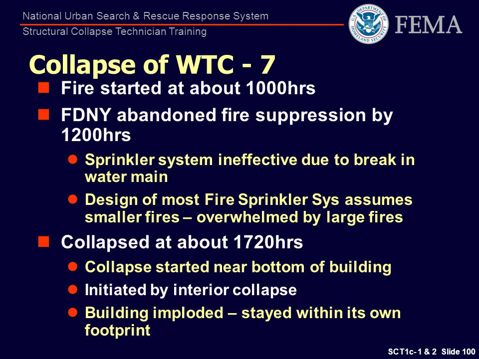 Collapse of WTC - 7 Fire started at about 1000hrs