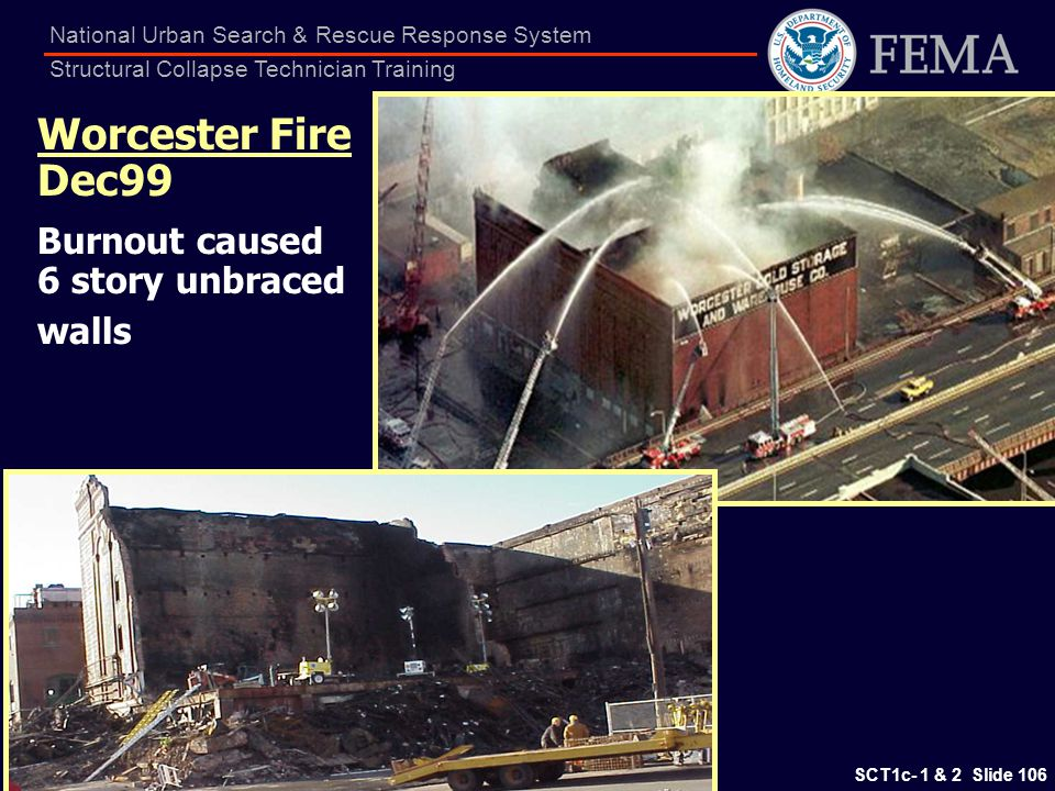 Worcester Fire Dec99 Burnout caused 6 story unbraced walls