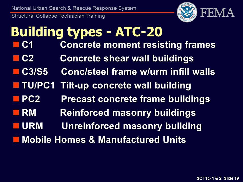 Building types - ATC-20 C1 Concrete moment resisting frames
