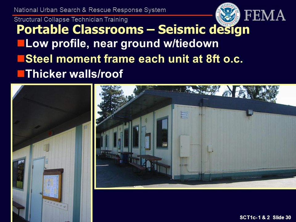 Portable Classrooms – Seismic design