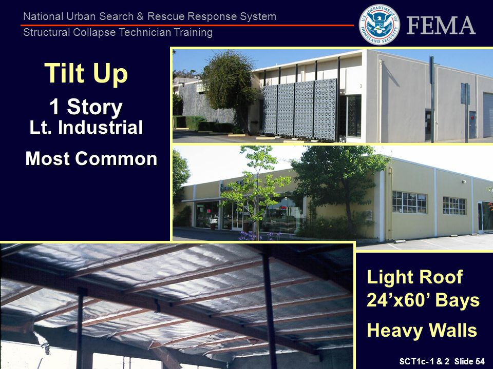 Tilt Up 1 Story Lt. Industrial Most Common Light Roof 24'x60' Bays