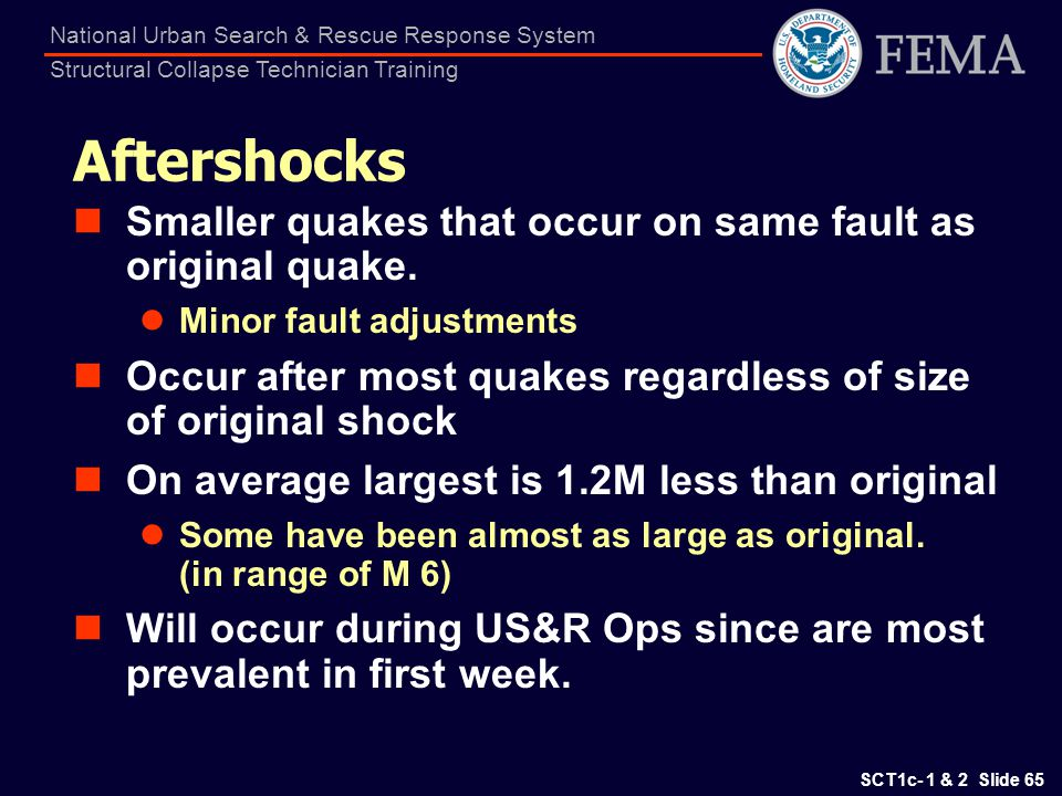 Aftershocks Smaller quakes that occur on same fault as original quake.