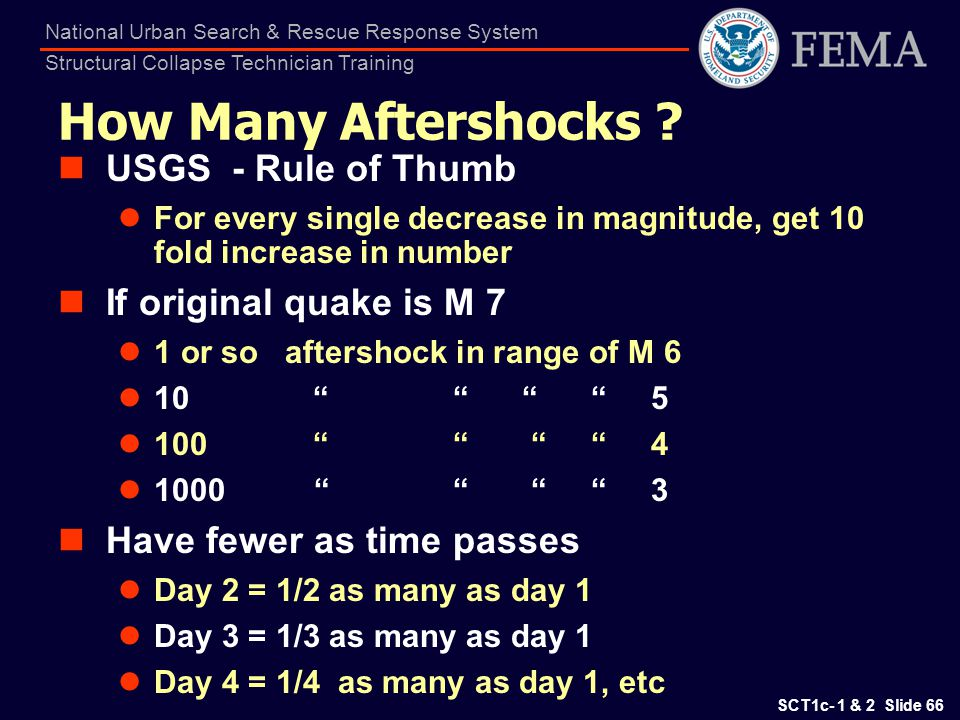 How Many Aftershocks USGS - Rule of Thumb If original quake is M 7